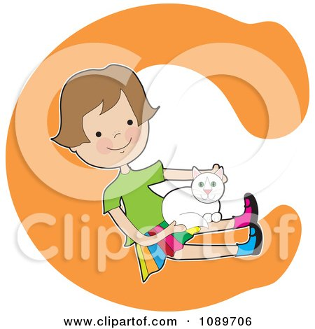 Clipart Alphabet Girl Petting A Cat Over Letter C - Royalty Free Vector Illustration by Maria Bell