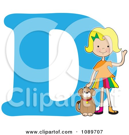 Clipart Alphabet Girl Petting A Dog Over Letter D - Royalty Free Vector Illustration by Maria Bell