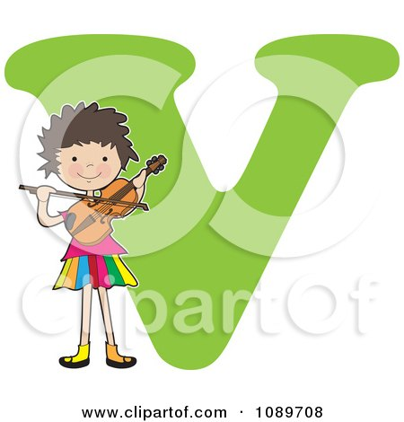 Clipart Alphabet Girl Playing A Violin Over Letter V - Royalty Free Vector Illustration by Maria Bell