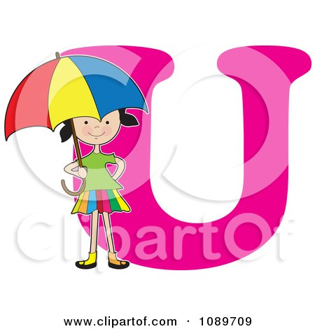Clipart Alphabet Girl Holding An Umbrella Over Letter U - Royalty Free Vector Illustration by Maria Bell
