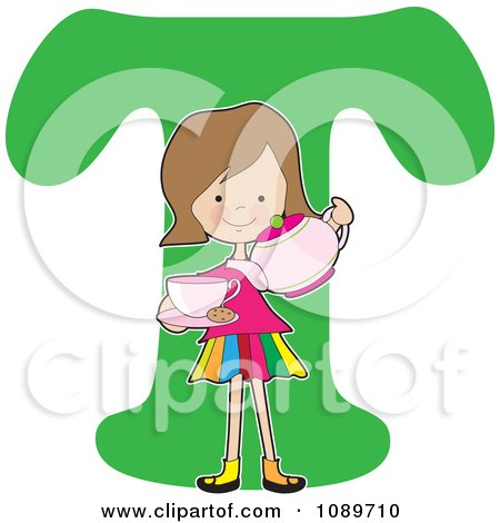 Clipart Alphabet Girl Pouring Tea Over Letter T - Royalty Free Vector Illustration by Maria Bell