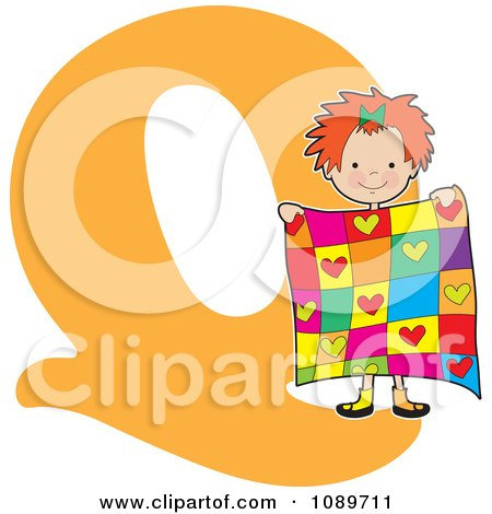 Clipart Alphabet Girl Holding A Quilt Over Letter Q - Royalty Free Vector Illustration by Maria Bell