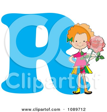 Clipart Alphabet Girl Holding A Rose Over Letter r - Royalty Free Vector Illustration by Maria Bell