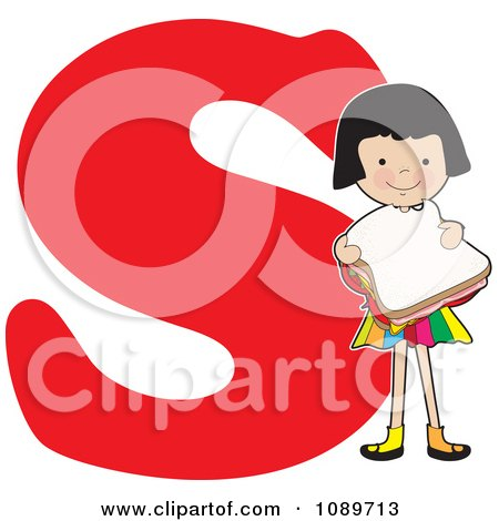 Clipart Alphabet Girl Eating A Sandwich Over Letter S - Royalty Free Vector Illustration by Maria Bell