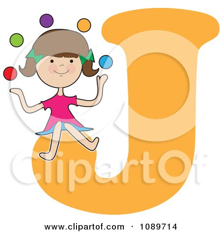 Clipart Alphabet Girl Juggling Over Letter J - Royalty Free Vector Illustration by Maria Bell