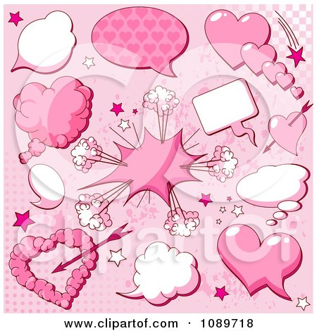Clipart Valentine Heart Explosion And Chat Balloon Design Elements On Pink - Royalty Free Vector Illustration by Pushkin