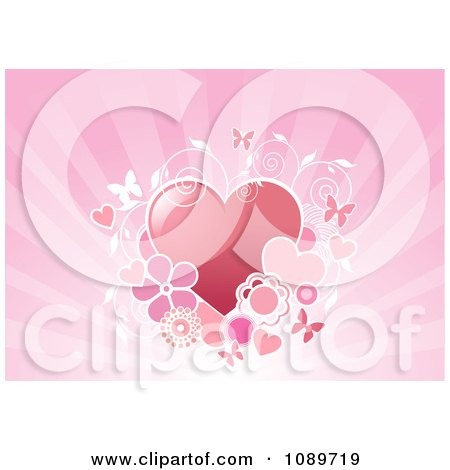 Clipart Hearts With Vines And Butterflies Over Rays - Royalty Free Vector Illustration by Pushkin
