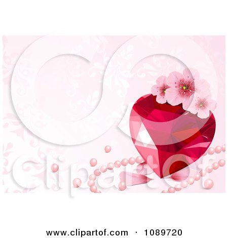 Clipart Ruby Heart With Blossoms Petals And Pink Pearls Over Floral Patterns - Royalty Free Vector Illustration by Pushkin