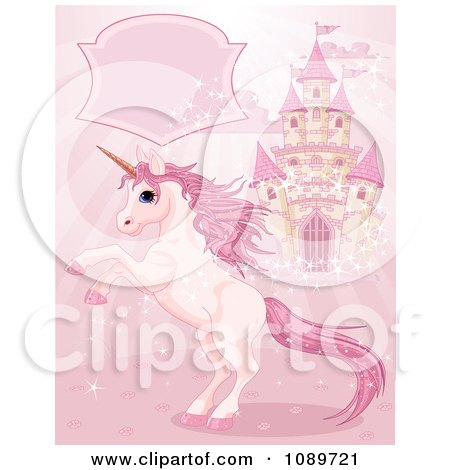 Clipart Magic Unicorn Rearing Under A Text Box By A Castle On Pink - Royalty Free Vector Illustration by Pushkin