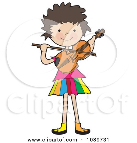 Clipart Girl Playing A Violin - Royalty Free Vector Illustration by Maria Bell