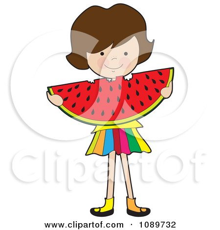 Clipart Girl Eating A Large Watermelon Slice - Royalty Free Vector Illustration by Maria Bell