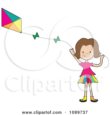 Girl Waving And Flying A Kite Posters, Art Prints