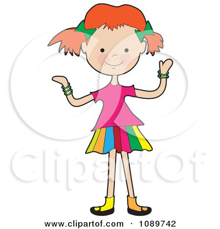 Clipart Red Haired Girl Shrugging - Royalty Free Vector Illustration by Maria Bell
