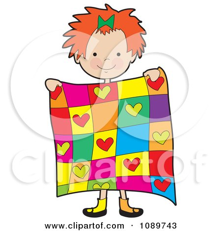 Red Haired Girl Holding A Quilt Posters, Art Prints