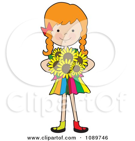 Clipart Red Haired Girl Holding Sunflowers - Royalty Free Vector Illustration by Maria Bell