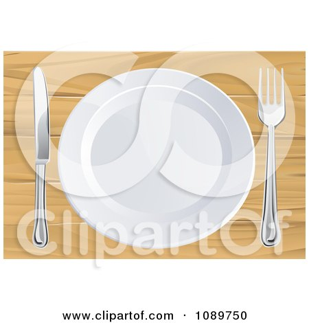 Clipart 3d White Plate With Silverware On A Wooden Table - Royalty Free Vector Illustration by AtStockIllustration
