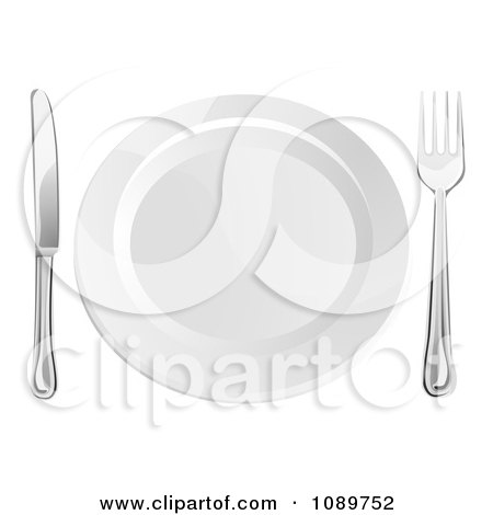 Clipart 3d Silver Fork And Butter Knife By A White Plate - Royalty Free Vector Illustration by AtStockIllustration