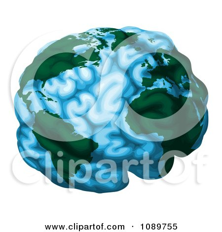 Clipart Blue Brain Globe With Green Continents - Royalty Free Vector Illustration by AtStockIllustration