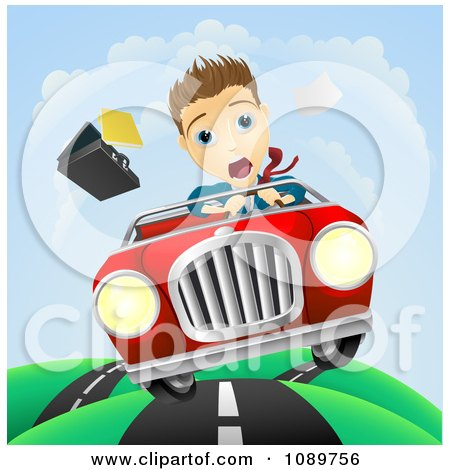 Clipart Scared Businessman Driving And Losing Control Of His Vehicle - Royalty Free Vector Illustration by AtStockIllustration
