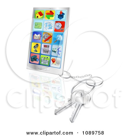 Clipart 3d Smart Phone With Apps And Attached Keys - Royalty Free Vector Illustration by AtStockIllustration