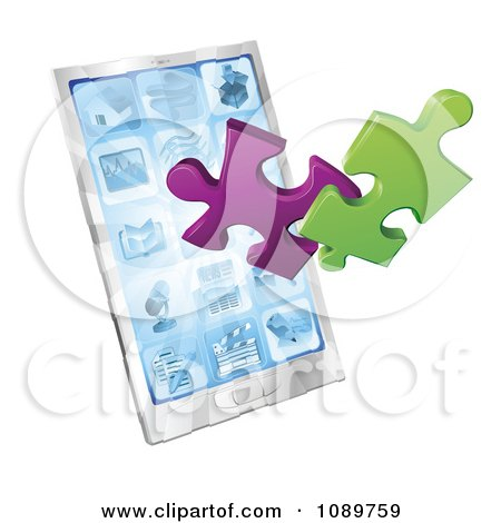 Clipart 3d Puzzle Pieces Bursting From A Smart Phone - Royalty Free Vector Illustration by AtStockIllustration