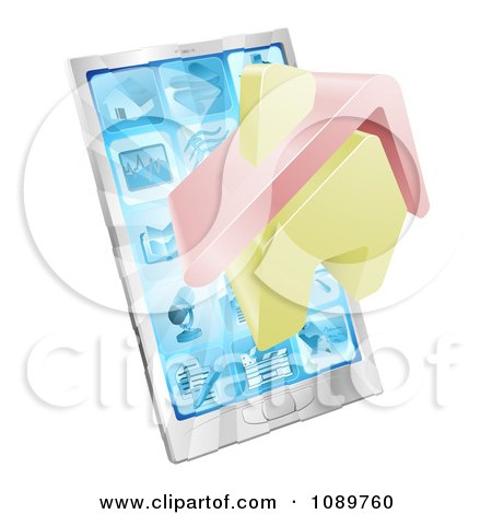 Clipart 3d House Emerging From A Silver Smart Phone - Royalty Free Vector Illustration by AtStockIllustration