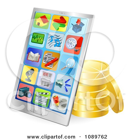 Clipart 3d Chrome Smart Phone With Gold Coins - Royalty Free Vector Illustration by AtStockIllustration