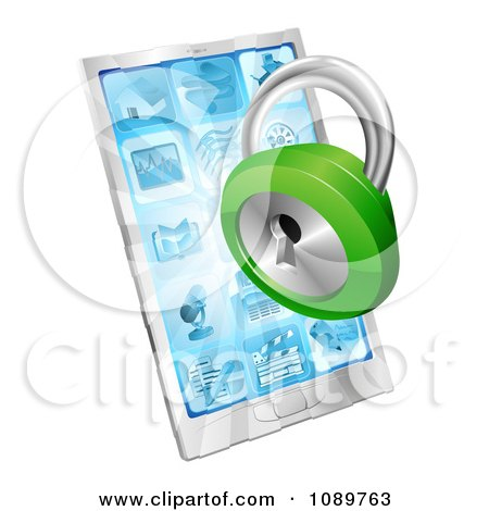 Clipart 3d green padlock emerging from a cell phone - Royalty Free Vector Illustration by AtStockIllustration