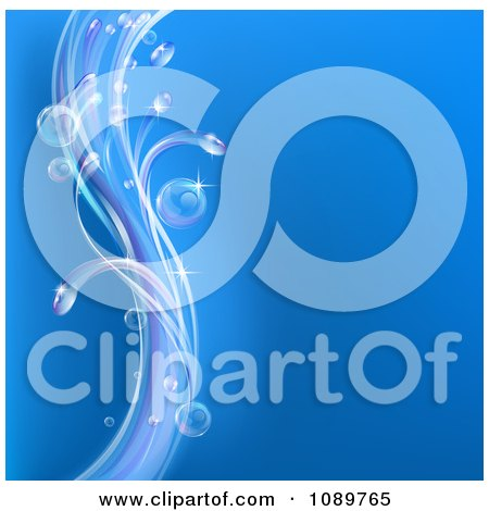 Clipart Blue Background With Swooshes Of Bubbles And Waves - Royalty Free Vector Illustration by AtStockIllustration