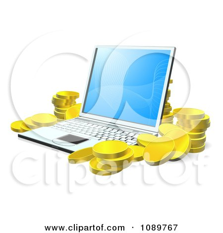 Clipart 3d Gold Coins Stacked Around A Laptop - Royalty Free Vector Illustration by AtStockIllustration