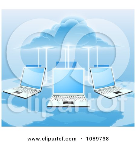 Clipart 3d Cloud Electrifying A Network Of Laptop Computers Over A Map - Royalty Free Vector Illustration by AtStockIllustration
