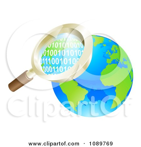 Clipart 3d Magnifying Glass Searching Globe Binary Coding - Royalty Free Vector Illustration by AtStockIllustration