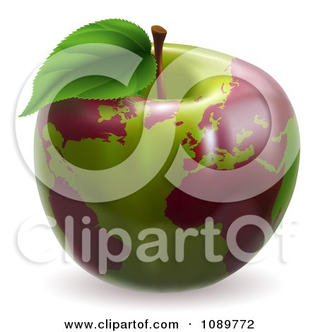 Clipart 3d Green Apple Globe With Red Continents - Royalty Free Vector Illustration by AtStockIllustration
