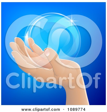 Clipart Human Hand Holding A Bubble Or Crystal Ball - Royalty Free Vector Illustration by AtStockIllustration