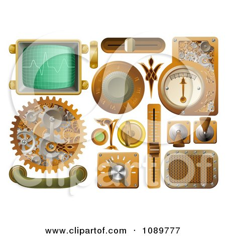 Clipart 3d Steampunk Styled Handles Knobs Screens And Switches - Royalty Free Vector Illustration by AtStockIllustration
