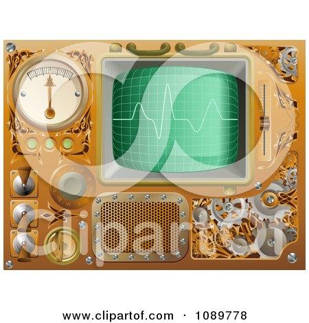 Clipart 3d Brass Victorian Steampunk Media Player Design Elements - Royalty Free Vector Illustration by AtStockIllustration