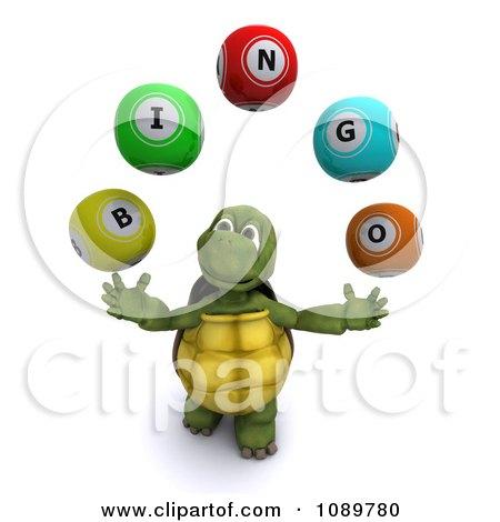 Clipart 3d Tortoise Juggling Bingo Balls - Royalty Free CGI Illustration by KJ Pargeter