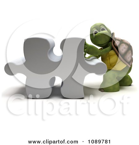 Clipart 3d Tortoise Pushing A Puzzle Piece - Royalty Free CGI Illustration by KJ Pargeter