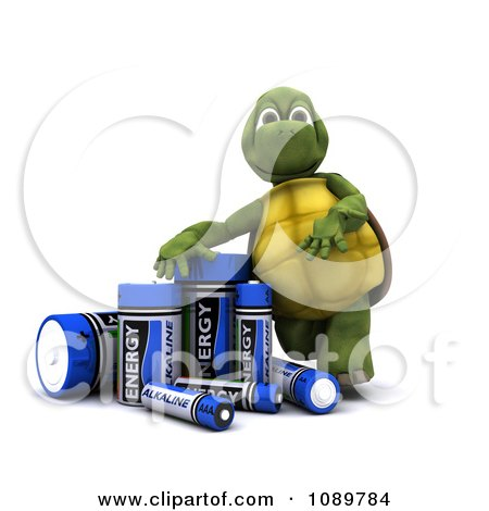 Clipart 3d Tortoise With Alkaline Batteries - Royalty Free CGI Illustration by KJ Pargeter