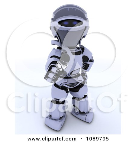 Clipart 3d Interviewing Robot Holding Out A Microphone - Royalty Free CGI Illustration by KJ Pargeter