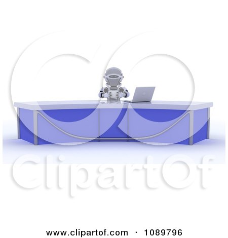 Clipart 3d News Anchor Robot At A Desk With A Laptop - Royalty Free CGI Illustration by KJ Pargeter
