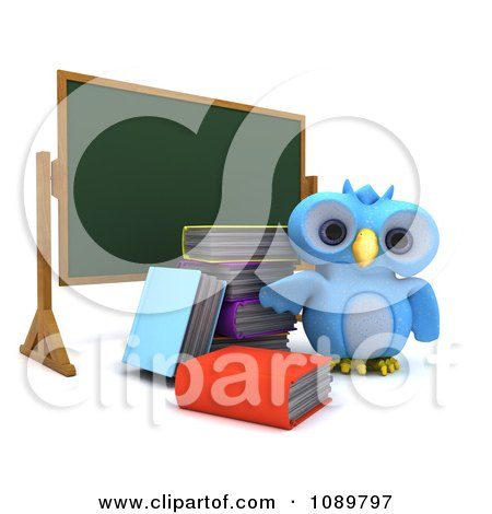 Clipart 3d Blue Bird Or Owl With Books By A Chalk Board - Royalty Free CGI Illustration by KJ Pargeter