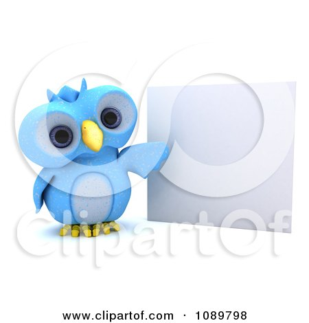 Clipart 3d Blue Bird Or Owl Presenting A Sign - Royalty Free CGI Illustration by KJ Pargeter