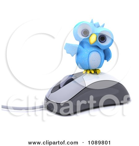 Clipart 3d Blue Bird Or Owl On A Computer Mouse - Royalty Free CGI Illustration by KJ Pargeter