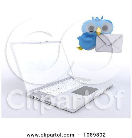 Clipart 3d Blue Bird Or Owl Delivering Email By A Laptop - Royalty Free CGI Illustration by KJ Pargeter