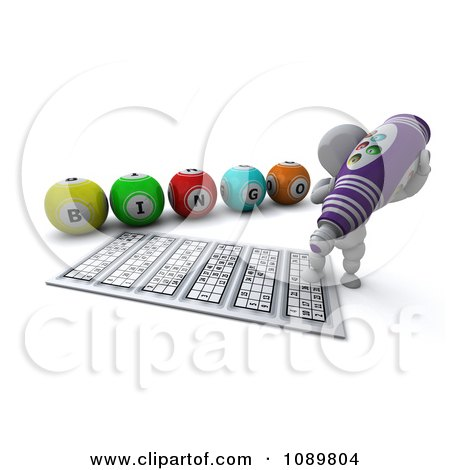 Clipart 3d White Character Using A Purple Bingo Marker - Royalty Free CGI Illustration by KJ Pargeter