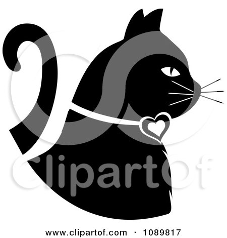 Clipart Black And White White Profiled Cat - Royalty Free Vector Illustration by Pams Clipart