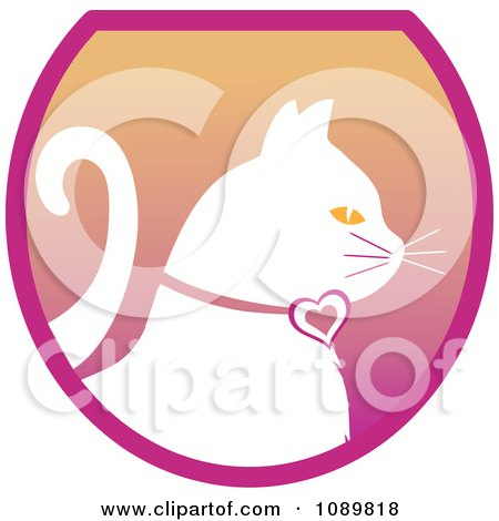 Clipart White Profiled Cat Over A Gradient Pink Oval Logo - Royalty Free Vector Illustration by Pams Clipart