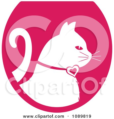 Clipart White Profiled Cat Over A Pink Oval Logo - Royalty Free Vector Illustration by Pams Clipart