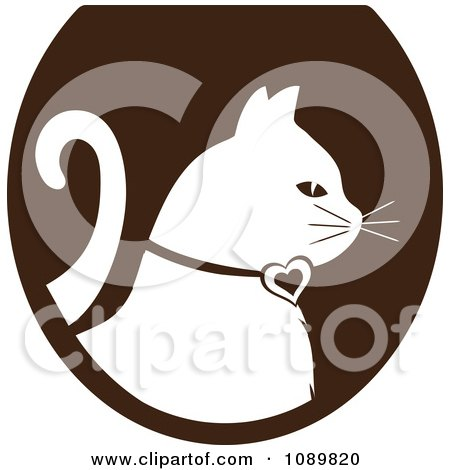 Clipart White Profiled Cat Over A Brown Oval Logo - Royalty Free Vector Illustration by Pams Clipart